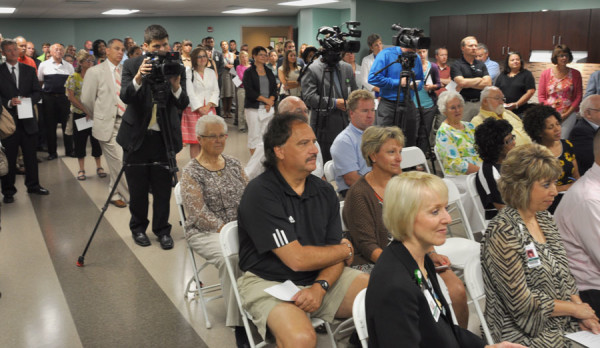 The crowd at the ribbon-cutting.