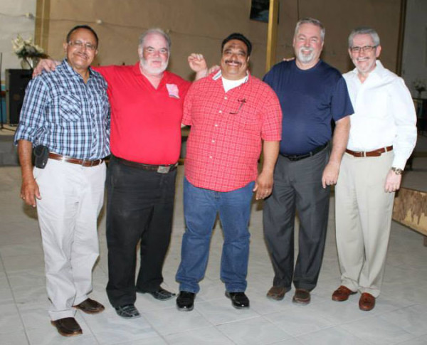 L-r: Robert Espinoza, Carlos Chavez (a UB pastor in Juarez, Mexico), a layperson, Bishop Phil Whipple, Bishop Denis Casco.