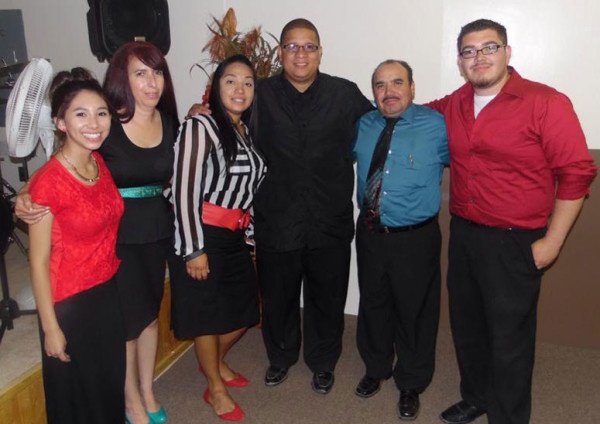 The Lopez family. L-r: Berenice, Irma, a couple who serve another Hispanic church in Santa Fe, Jesus, and Jaaziel.