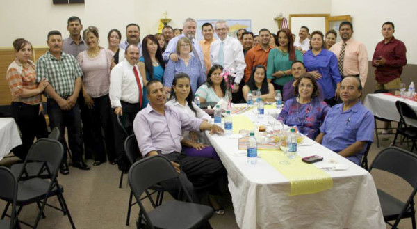 A Saturday night gathering at Centro Cristiano Shalom of Hispanic pastors and others from throughout Santa Fe.