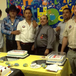 Pastor Jesus Lopez (center) with men from his church.