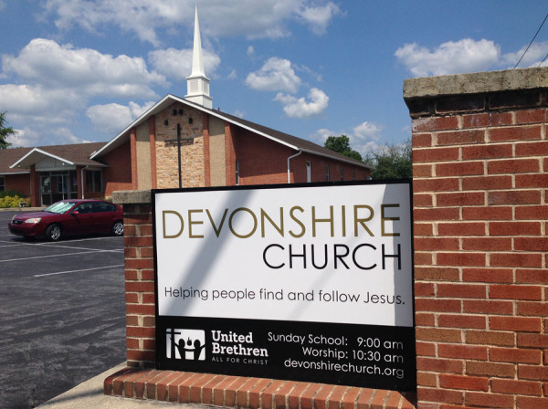 The sign at Devonshire Church, with the new UB logo.