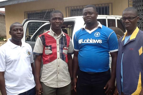 L-r: Peter Kainwo, Bishop John Pessima, and two pastors from Kenema.