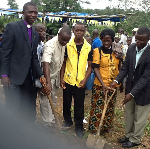 On the left is John Pessima, bishop of Sierra Leone Conference.