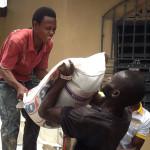 Unloading food supplies for Kenema.
