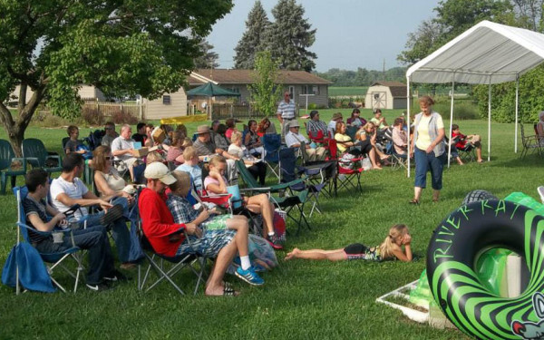 The Mt. Zion congregation at the outdoor worship service.
