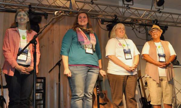 Recognition was given to UB missionaries (l-r) Cathie Datema, Nichie Parrish, Deb Siegel, and Patti Kuntz.