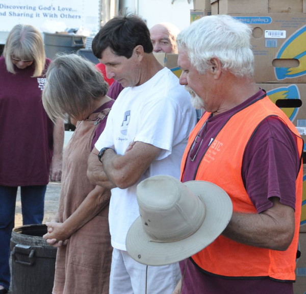 Chuck McKeown, pastor of UBIC Holly Hill, led the group in prayer to start the day.