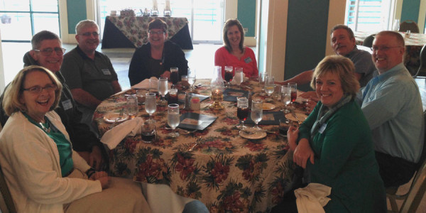 Around the table, l-r: Art and Deborah Page (Salem UB, Chambersburg, Pa.); Gary and Rhonda Dilley (College Park UB, Huntington, Ind.); Annette and Dennis Sites (Jerusalem Chapel, Churchville, Va.); Chris and Keri Little (Mt. Pleasant Church, Chambersburg, Pa.).