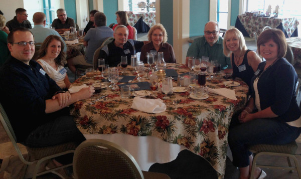 Around the table, l-r: Jason and Mary Garwood (Colwood UB, Caro, Mich.); Lester and Linda Smith (Hillsdale UB, Hillsdale, Mich.); Marty and Amy Pennington (Mainstreet Church, Walbridge, Ohio); Lisa Fetters, wife of National Ministries director Todd Fetters.