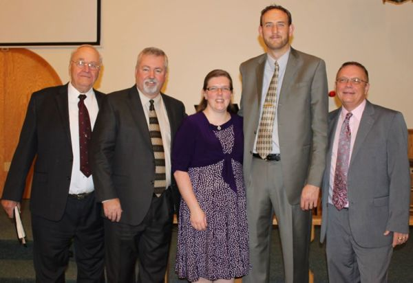 L-r: Roger Overmyer, Bishop Phil Whipple, Amanda and Steve Henry, and Gary Small.