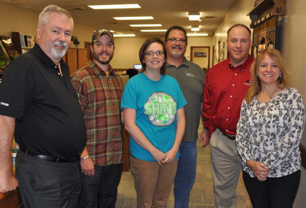 Bishop Phil Whipple at the UB National Office in Huntington with the camp directors. L-r: Bishop Whipple, Chad and Dana Toelke, Brad North, Scott Stephens, and Angela Monn. Scott Stephens.