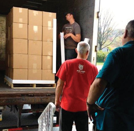 A pallet of food being loaded onto a truck at Cochranton Community Church, for shipment to Sierra Leone.