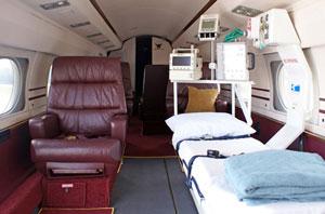 Inside a Phoenix Air air ambulance.