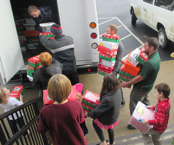 Loading shoeboxes at Atlantic Avenue.