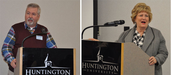 Bishop Phil Whipple and Dr. Sherilyn Emberton, president of Huntington University, spoke prior to the meal on Monday night.