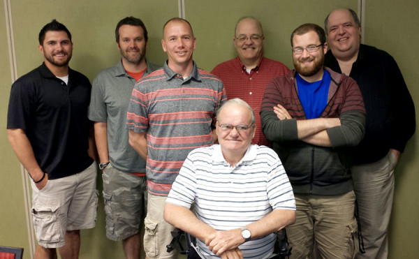 Kyle Timmis, C.J. Clymer, David Dakin, Thomas Shunk, Mark Self, Ted Rankin, and Scott Budde.