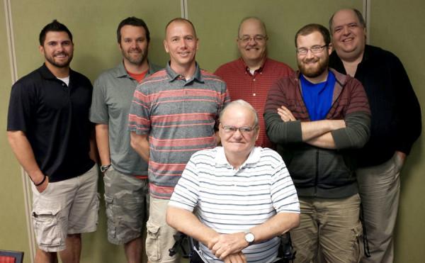 Kyle Timmis, C.J. Clymer, David Dakin, Thomas Shunk, Mark Self, Ted Rankin, and Scott Budde.
