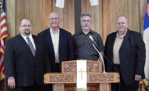 L-r: Current pastor Jason Sheets, David Hedrick, Edward Daley, and Chuck Wheatley.