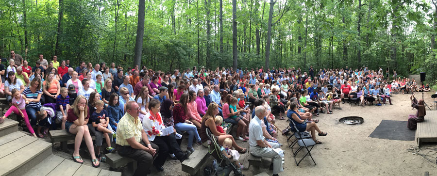 The annual outdoor service at Camp Michindoh.