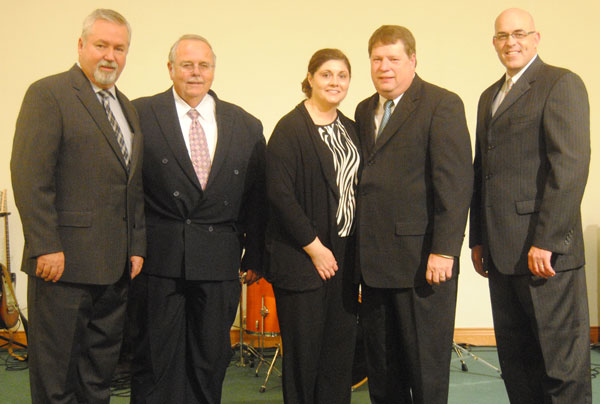 L-r: Phil Whipple, Chuck Wheatley, Amanda and Scott Graham, Bishop Todd Fetters.