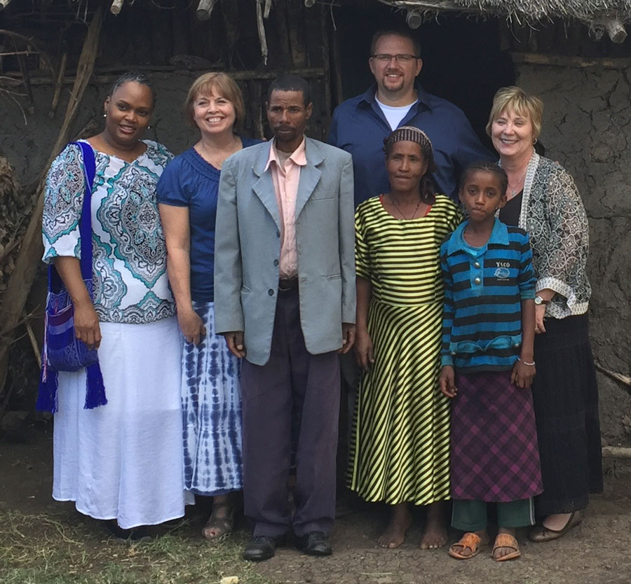 Matt Kennedy with fellow team members and local people in Ethiopia.