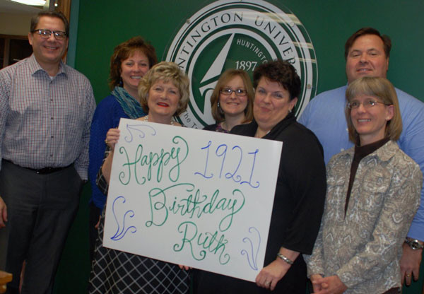 Dr. Sherilyn Emberton (third from left) and other Huntington University staff wishing Ruth Merillatt a happy 95th birthday.