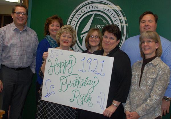 Dr. Sherilyn Emberton (third from left) and other Huntington University staff wishing Ruth Merillatt a happy 95th birthday.