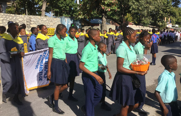 It was quite a celebration as the congregation of the Archaie church marched to their new church building on January 31.