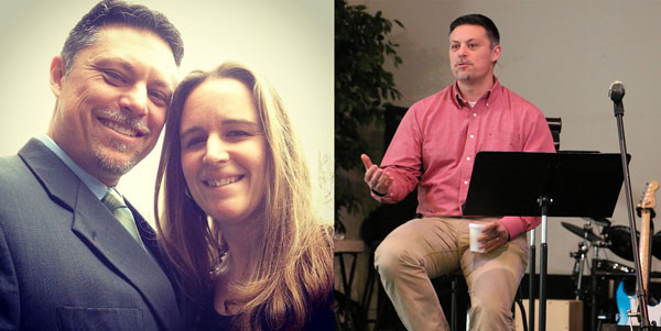 Left: Tim and Tara Hallman. Right: Tim speaking on Palm Sunday.