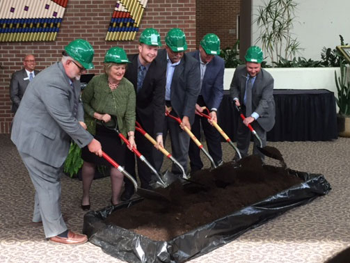 Breaking ground for the new Welcome Center.