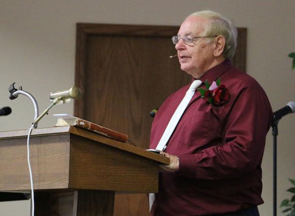 Ray Seilhamer preaching for the last time as senior pastor of New Hope Church.