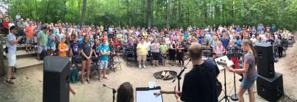 The 2016 Hillsdale outdoor service at the Michindoh Camp and Conference Center.