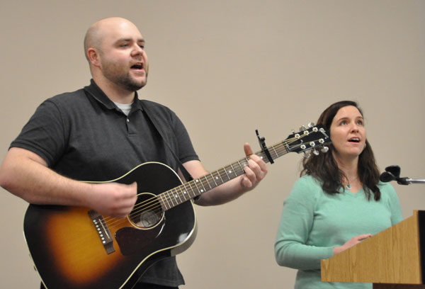 Matthew and Emilyn Hann, from College Park UB church, led a time of singing on Monday night.