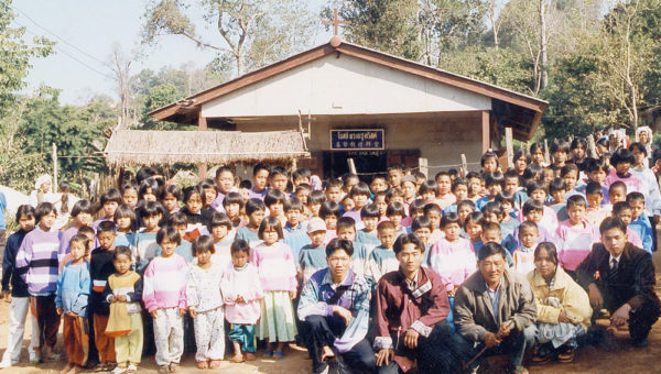 The congregation at Litao Village in 2001.