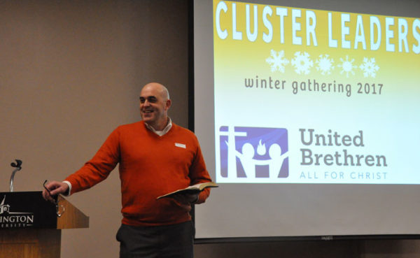 Bishop Todd Fetters speaking to the cluster leaders on Monday night.