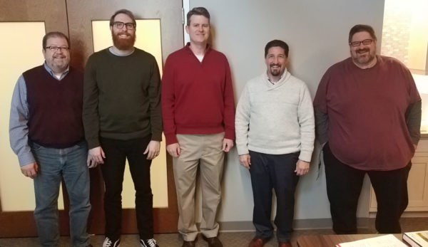 L-r: Steve Shadle, Mitch Benedict, Jay Brown, Steve Flint, and Marc Webb.