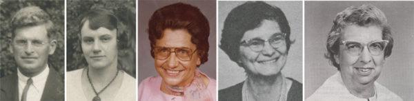 L-r: Lloyd and Eula Eby, Oneta Sewell, Erma Funk, Bernadine Hoffman.