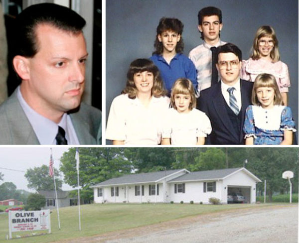 From upper left: Jeff Pelley in 2006; the Pelley family; the Olive Branch parsonage.