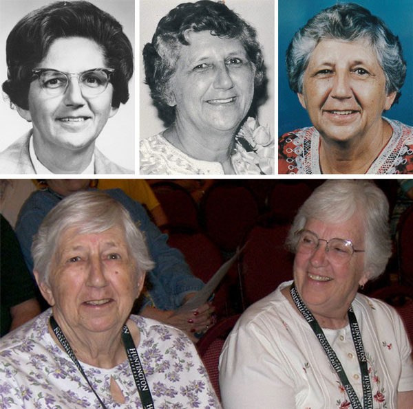 June Brown through the years. Below:June with Eleanore Datema at the 2009 US National Conference in Huron, Ohio.