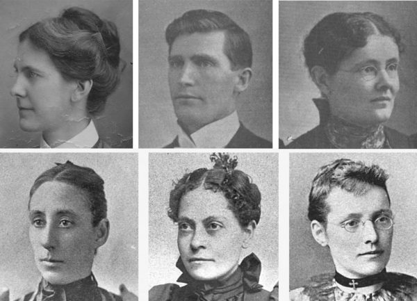 Mary Mullen (upper left) and the five missionaries murdered at Rotufunk (l-r): Isaac and Mary Cain, Ella Schenk, Dr. Mary Archer, and Dr. Henrietta Hatfield.