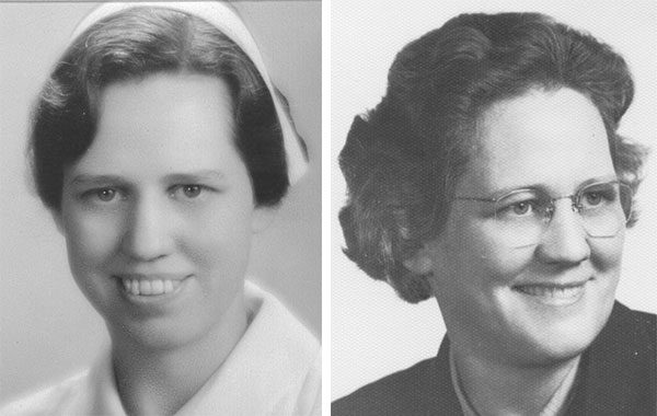 Emma Hyer as a young nursing student in the early 1930s, and during her final term in the 1950s.