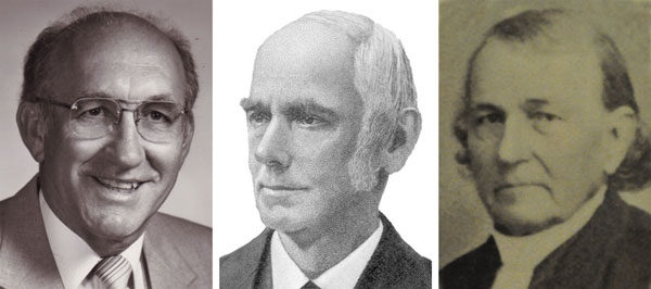 Three bishops influential in the history of the United Brethren Church in Canada (l-r): C. Ray Miller, John Jacob Glossbrenner, and Jacob Erb.
