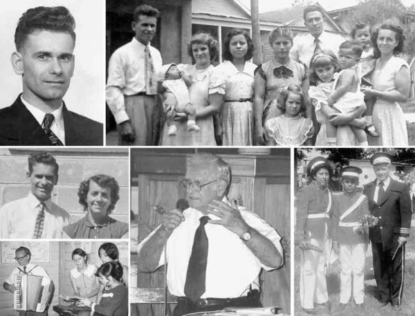 Clockwise from upper left: Archie Cameron. Archie and Maisy Cameron (on the ends) with their daughters and Hondurans. Archie with members of the Bethel Band, which he founded and led. Archie preaching in 1997. Archie playing the accordion--one of many instruments he played--to accompany some Honduran girls. Archie and Maisy.