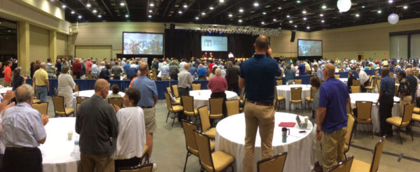 A standing ovation as Todd Fetters is elected bishop of the US National Conference during the July 13 business meeting.