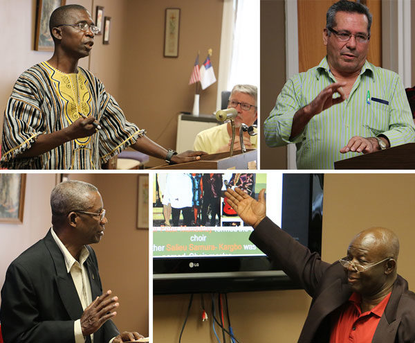 Conference and mission district leaders reported on their work. Clockwise from upper left: John Pessima, bishop of Sierra Leone Conference; Gonzalo Alas, bishop of Honduras Conference; Alimamy Sesay, pastor of the UB church in Berlin, Germany; and Isaac Nugent, bishop of Jamaica Conference.