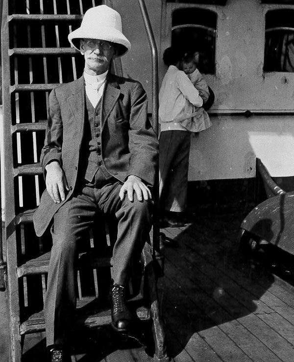 Jacob Howe on board a ship en route to Sierra Leone in 1914.