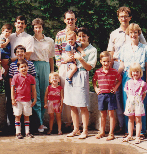 Jeff and Joan Sherlock and children (left) with the Luke and Audrey Fetters (middle) and Phil and Darlene Burkett families.