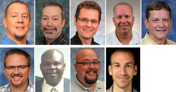 Top row, l-r: Michael Burtnett, Jeff Dice, David Grove, Jason Haupert, Stuart Johns. Bottom row, l-r: Matthew Kennedy, Gener Lascase, Brent Liechty, John Shadle.